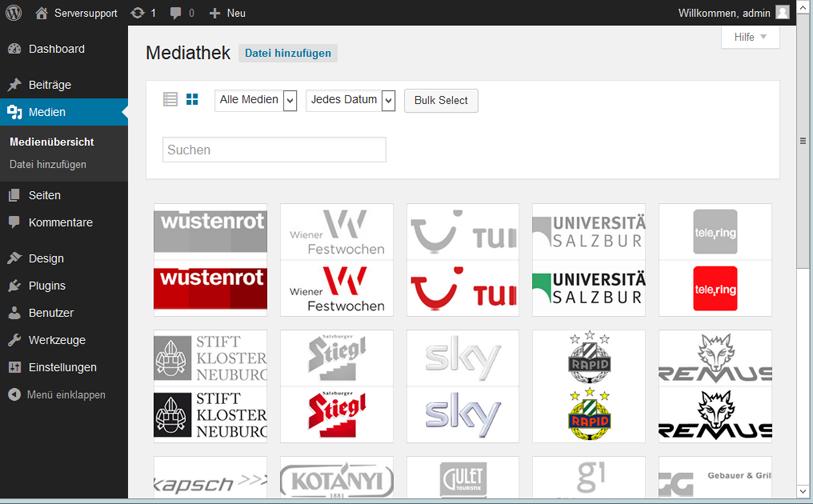 Wordpress 4.0: Mediathek in der neuen Ansicht